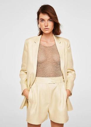 Льняной блейзер mango, кремовый пиджак изо льна, піджак з льону