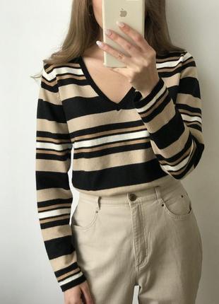 Джемпер свитер полоска чёрный бежевый коричневый прямой объемный удлиненный лонгслив