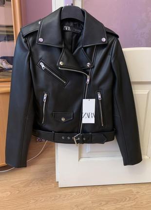 Новая кожаная куртка косуха zara