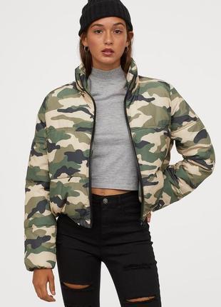 Новая с биркой куртка в стиле милитари,куртка пуховик h&m,зефирка,куртка оверсайз h&m