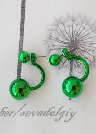 Распродажа! с-образные зеленый металлик серьги шарики сережки гвоздики бижутерия шар