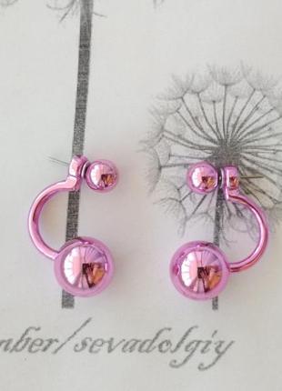 Распродажа! с-образные розовый металлик серьги шарики сережки гвоздики бижутерия шар