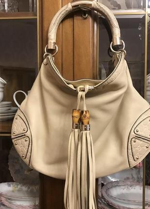 Мягкая вместительная большая сумка gucci оригинал италия натуральная кожа