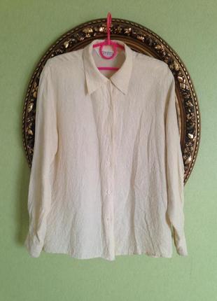 Шелковая блуза рубашка сша молочного цвета свободного кроя