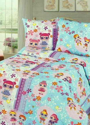 Детское хлопковое полуторное постельное белье куклы лол на бирюзовом
