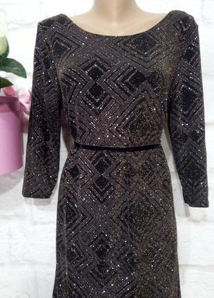 Платье миди нарядное плотный люрекс р 16 f&f