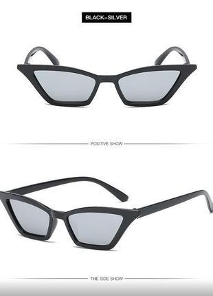 Распродажа! черные глянцевые трендовые узкие очки линзы серебристый металлик лисички