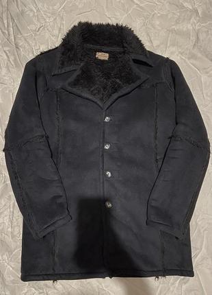 Дублёнка чёрная oversize оверсайз тёплая куртка пальто