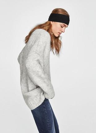 Объемный свитер шерсть - альпака оверсайз zara p m