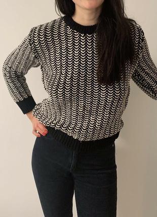 Джемпер свитер кофта вязанный хлопковый черный белый с разрезами cos