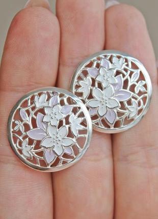 Серебряные серьги весна эмаль