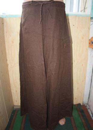 Стильная длинная льняная юбка 100% лён в бохо этно стиле