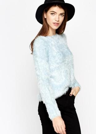 Джемпер свитер травка пушистый нежно голубой качественный