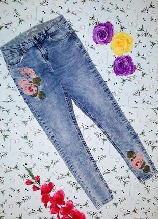 🌿1+1=3 узкие зауженные высокие плотные джинсы скинни с вышивкой george, размер 44 - 46