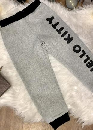 Тёплые штаны на флисе hello kitty девочка 3-4 года