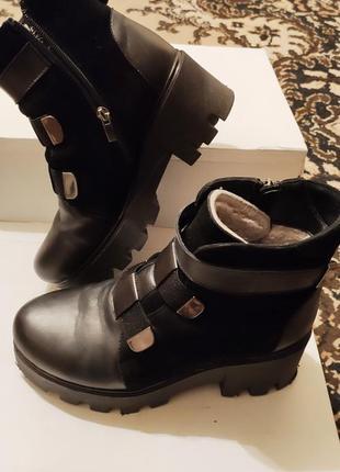 Зимние ботинки на тракторной подошве, ботинки из натуральной кожи и замши, тёплые ботинки