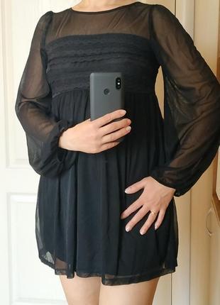 Платье мини черное, идеальное состояние, р 10