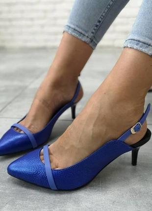 Кожаные эксклюзивные  туфельки с открытой пяткой