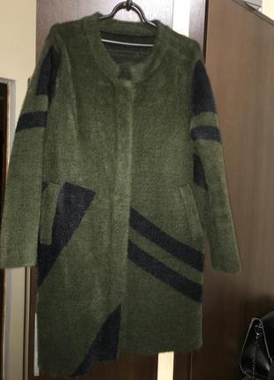 Пальто, кардиган, ангорковый, теплый, зелёный