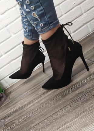 Шикарные новые туфли лодочки с сеткой ботильоны