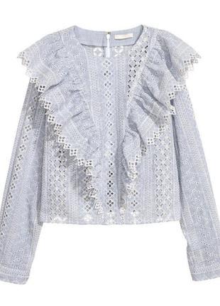 Шикарная  блуза из прошвы /вышиванка /шитье h&m