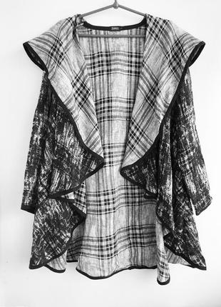 Креативный льняной кардиган - накидка, балахон из льна лляной льон linen