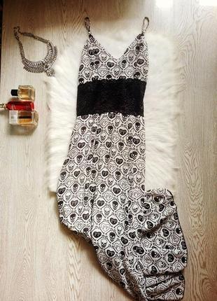 Белый длинный сарафан платье в пол на бретелях с черным принтом plein черепа гипюр