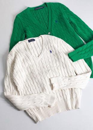 Белый свитер с косами ralph lauren