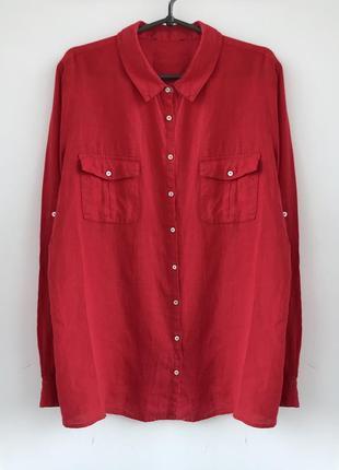 Шикарная красная льняная рубашка, блуза из льна лляная льон linen италия