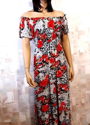 Красивое длинное платье в анималистический принт с розами от miss collection