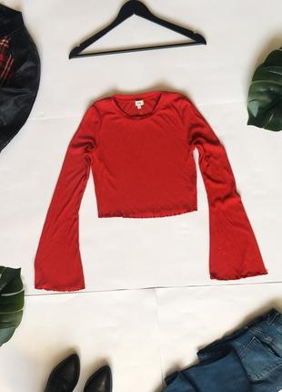 Распродажа!!! 🔥 красный лонгслив топ джемпер в рубчик от river island. р-р s