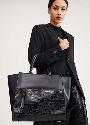 Объемная сумка с декоративным карманом