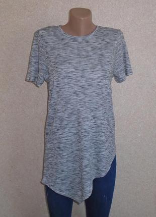 Асиметрмческая футболка в рубчик\удлиненная футболка\асиметрична футболка в рубчик