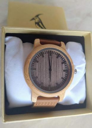 Новые стильные деревянные мужские часы (средне-светлые) bobo bird