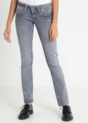 Брендовые женские серые коттоновые джинсы pepe jeans тунис этикетка
