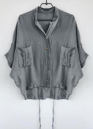 Льняная рубашка - блуза необычного кроя, туника из льна, лляная льон linen италия