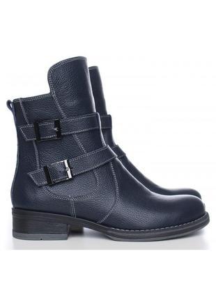 Кожаные женские демисезонные синие ботинки с пряжками низкий каблук натуральная кожа