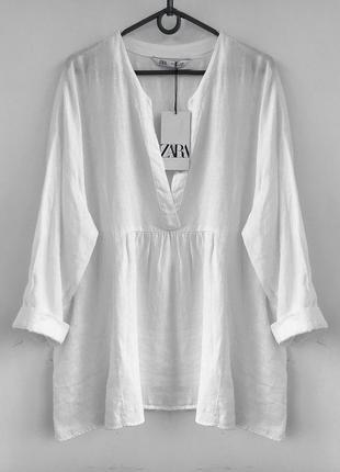 Роскошная объемная льняная туника - рубашка зара / zara бохо, блуза льон лляная из льна