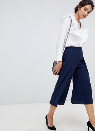 Брюки штаны кюлоты синие классические высокая талия высокое качественные
