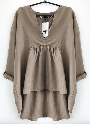 Объемная льняная туника - рубашка цвета тауп зара / zara бохо, блуза льон лляная из льна