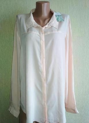 Пудровая кремовая фирменная блуза,р.42