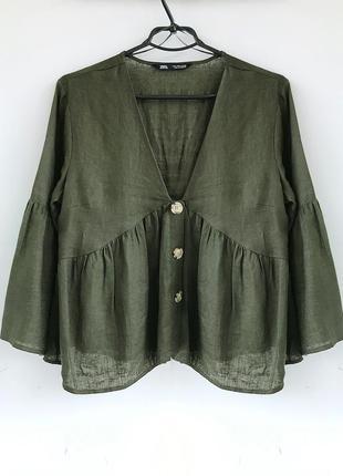 Объемная льняная туника - рубашка зара / zara бохо, блуза льон лляная из льна