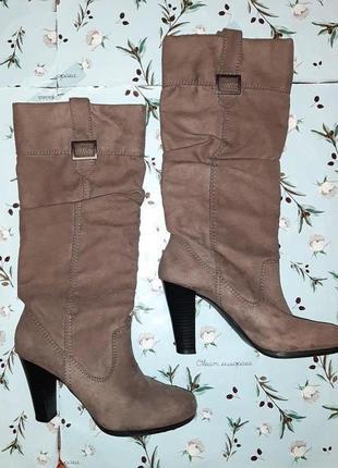 🎁1+1=3 стильные высокие кофейные сапоги демисезон на среднем каблуке zara, размер 38