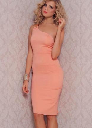 Розовое нарядное вечернее миди платье на одно плечо pink boom paris коттон этикетка