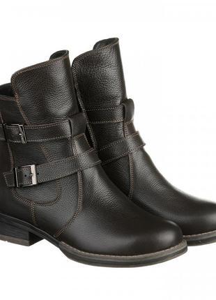 Кожаные женские демисезонные коричневые ботинки с пряжками низкий каблук натуральная кожа