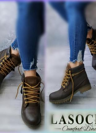 36-37р кожа нубук новые lasocki на флисе  ботинки,сапожки,полусапожки