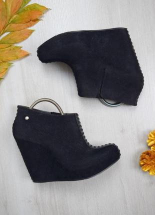 Чёрные ботинки под замш сапоги резиновые прорезиновые на платформе