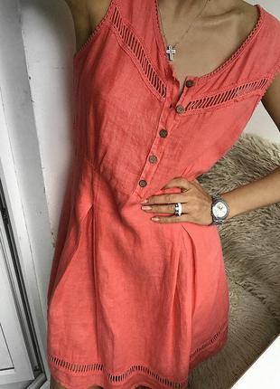 Алое коралловое льняное платье - туника, сарафан лляной, из льна лен италия