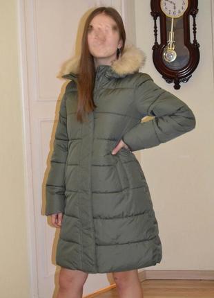 Расширенный  зимнее пальто gap наш-м longline hooded puffer jacket новое