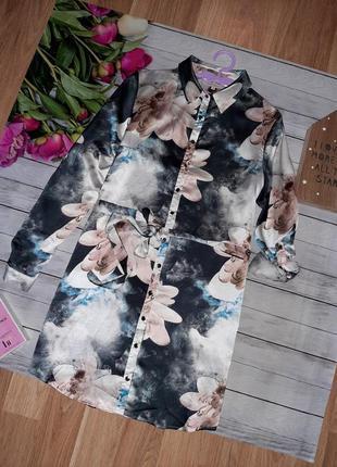 Стильное платье рубашка в цветы
